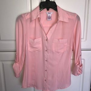 •Candies pink button down blouse•